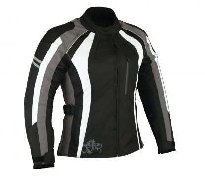 Womens black grey and White Motorcycle jacket