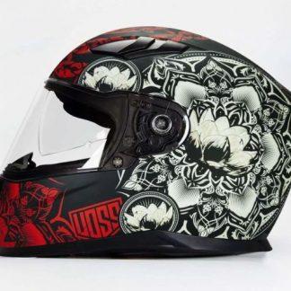 Voss 988 fullface Red Mandala MotorcycleHelmet