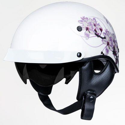 Voss 707 Matte White Pink Half Helmet with drop down sunshield