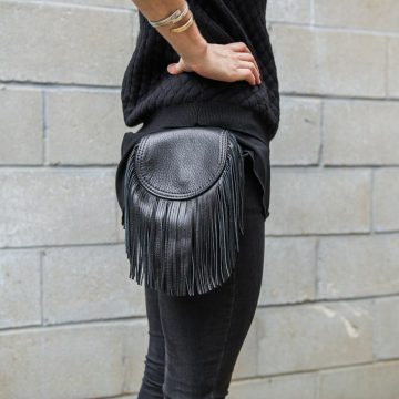 Leather Biker fringed bag